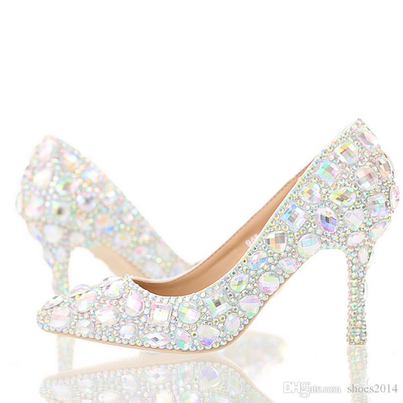 Crystal Wedding High Heel Shoes Glitter AB Color Performance Party ... 9c5d3b545f20