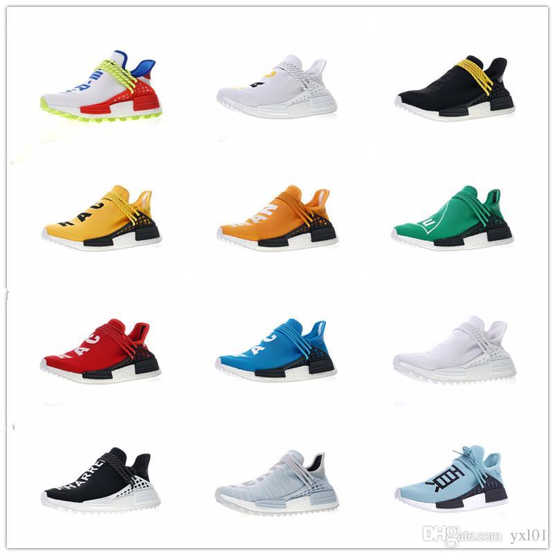 competitive price 88f5a 0c99d Compre Con Cordones + Original Human Race Pharrell Williams X Zapatillas De  Deporte Para Hombre Para Mujer Zapatillas De Deporte PW Hu Trail Zapatillas  ...