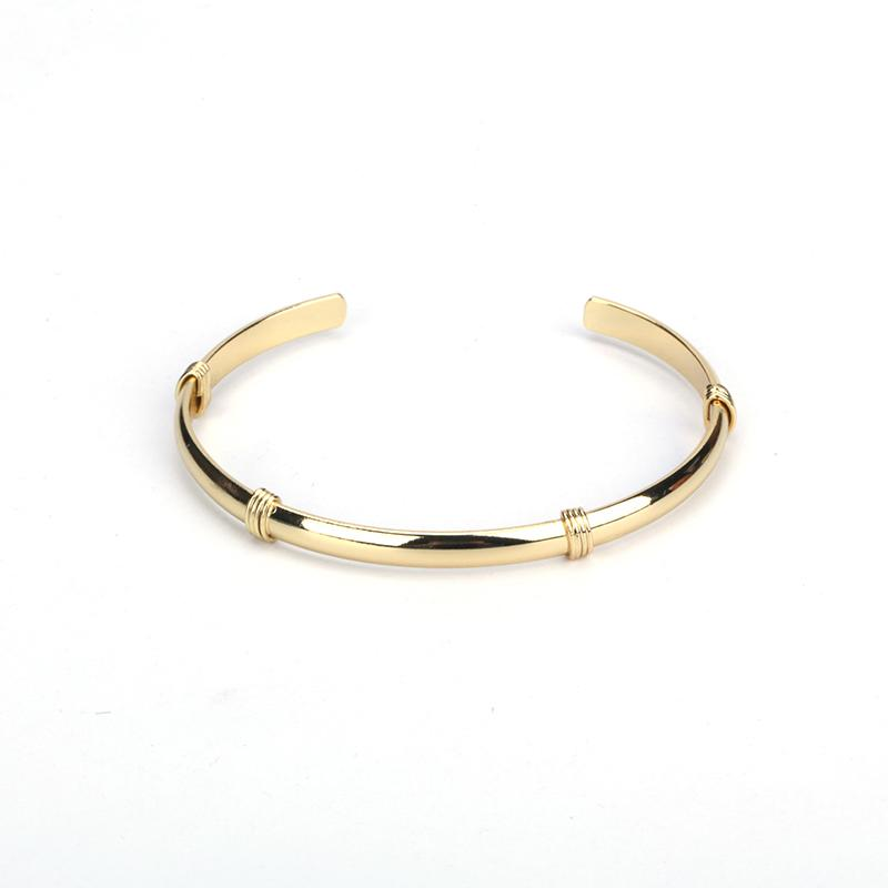9d2724d997686 Minimalist Jewelry Pure Gold Color Copper Brass Metal Wire Band Wrap Charms  Adjustable Bracelet Open Bangle Cuff For Women