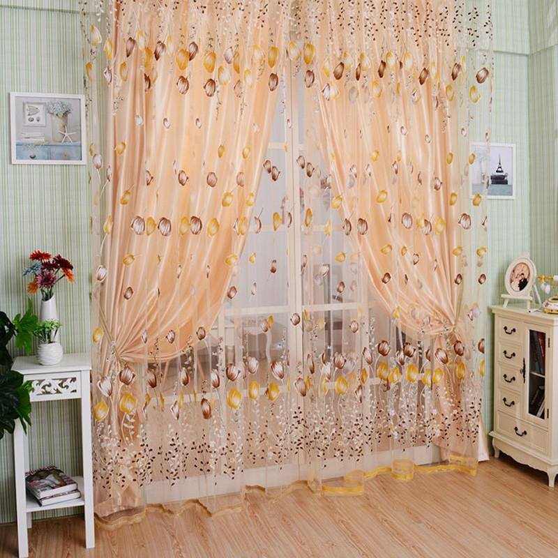 Tulle LS4G 1M 2M Tulle Chic Room Tulip Flower Sheer Curtain Pastoral