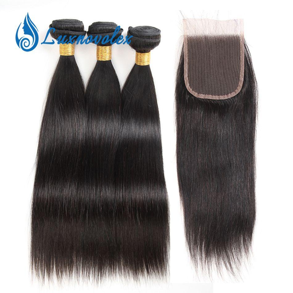 Brazilian Body Wave & Straight Human Hair Bundles With Closure Brazilian Virgin Hair Water Wave Loose Wave Curly Hair Bundles With Closure
