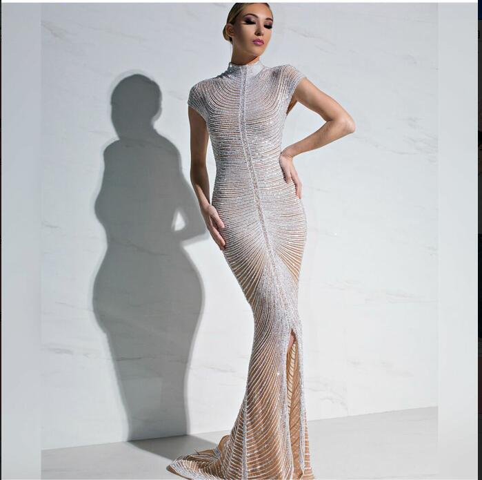 Evening dress Yousef aljasmi Mermaid Beads Crystals Short sleeve Long dress Major beading kim kardashian