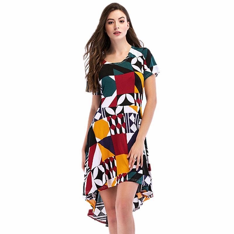 Modèle Sexy Robes Élégantes Vintage 2019 Mode Fleurs À Manches Courtes  Imprimé Robes De Soirée Robes WS7883U