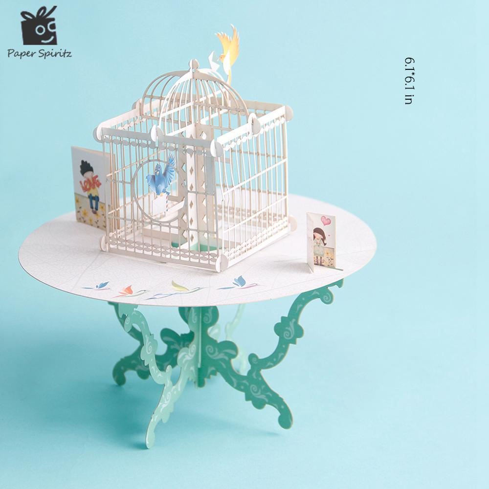 Wholesale Birdcage Laser Cut 3d Pop Up Paper Laser Cut Crafts