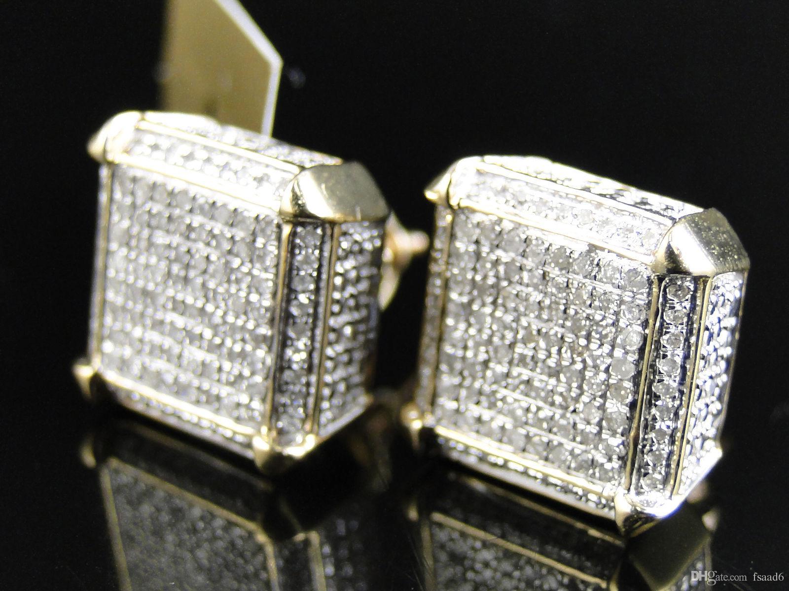 2018 10k Yellow Gold Diamond Cube Dice Shape Stud Earring From