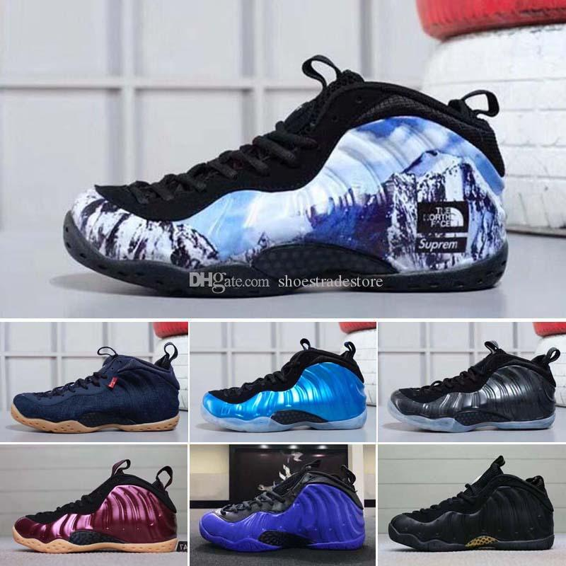 finest selection 9c164 4cb89 2018 New Mens Basketball Shoes Casual Men Sports Sneakers Foam One Eggplant  Purple Foams Night Maroon Gum Chaussures Foamposites Trainers Basketball  Mens ...