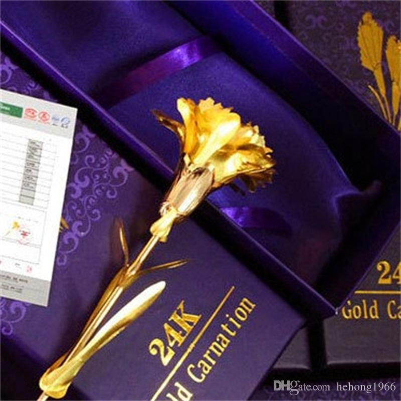 Artificial Flower Originality Gift Mothers Day Gold Foil Gilding Imitation Handmade Carnation Simulation Flowers Lifelike Arts Crafts 6dq V
