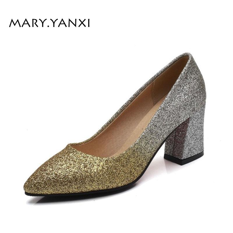 ced471d9e18 Spring Autumn Sequined Cloth Women Pumps Bling High Heel Lady Shoes Wedding  Party Gold Silver Big Size Pointed Toe Square Heels Footwear Bass Shoes  From ...