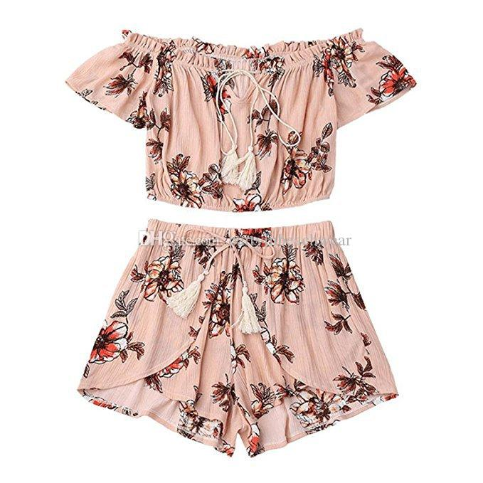 59023eb98c025 2019 Women Two Pieces Sets Tropical Floral Print Sexy Off Shoulder Lace Up Crop  Top With Irregular Shorts Set Casual Summer Bohemian Holiday Suit From ...