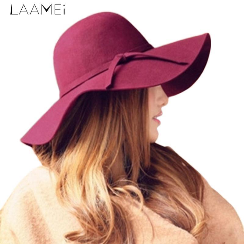 Compre Laamei Moda Fedoras Mujeres Elegantes Señora Sun Hat Sólida Playa  Sol Sombrero Femenino Ocasionales Olas Ala Grande Sunbonnet Fedora Otoño A   35.2 ... 0729f52d637