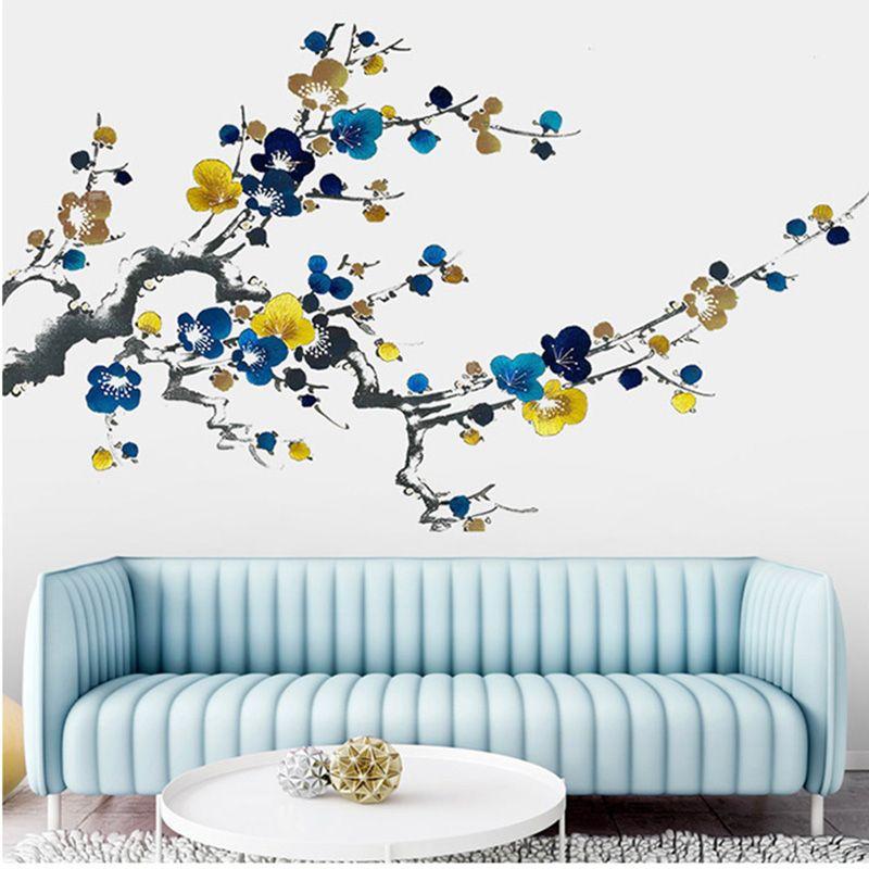Estilo chinês Pintura A Tinta Ameixa Flor Flores Adesivos de Parede Sala de estar Quarto Mural de Parede Poster Arte Decalques de Parede Decalques de Decoração Para Casa Papel