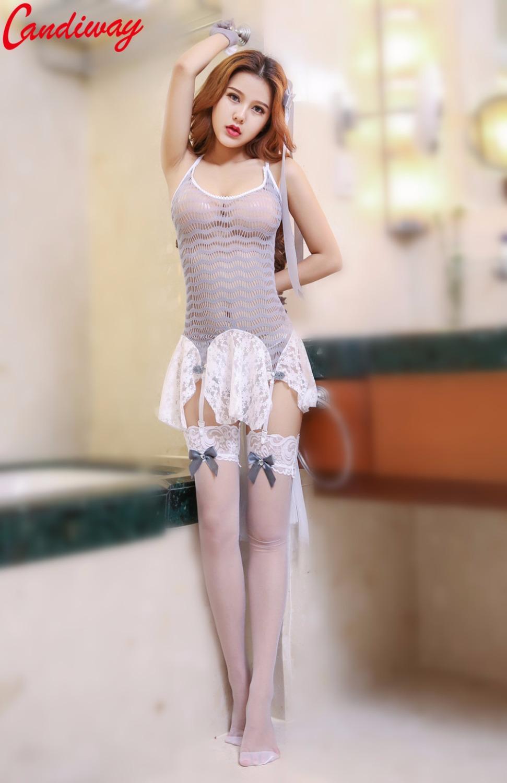Candurway Seksowne mundury Pokusa Dress Garnitur Seksowna Bielizna Fishnet Kostium Bielizna Erotyczna Cosplay Princess Girl Dams