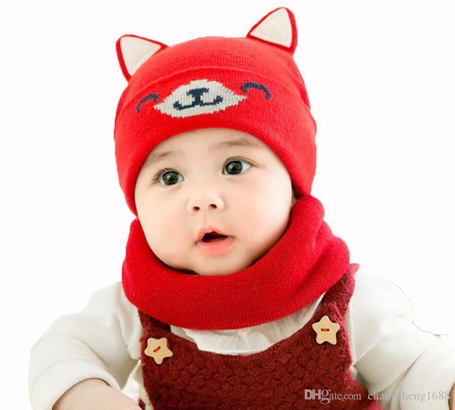 b079e8d8e98 2019 Baby Boy Caps Winter Girl Hats And Ring Scarves Set Cotton Kids  Beanies Cap Scarf Collar Children Hat Accessories Cartoon Suit MZ6858 From  ...