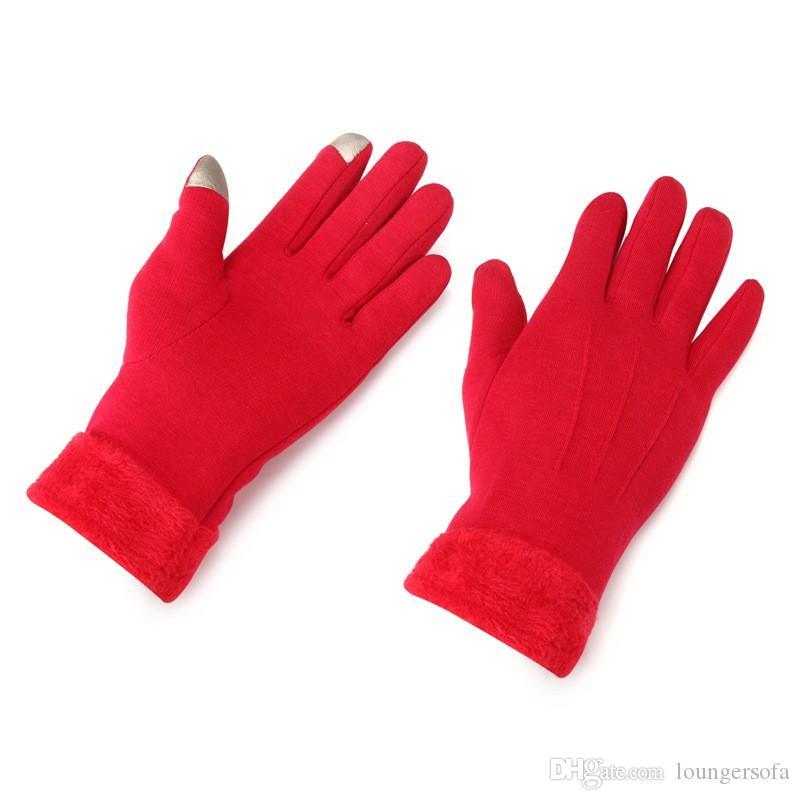 Женщины сенсорный экран перчатки на зиму согреться пять пальцев перчатки красочные сгущаться эластичные варежки анти пиллинг 13 5at Б