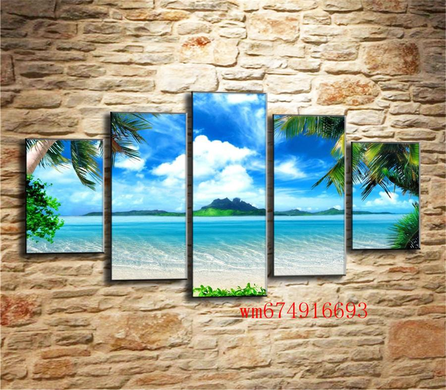 Beach Blue Palm Trees , 5 Pieces Home Decor HD Printed Modern Art Painting on Canvas (Unframed/Framed)