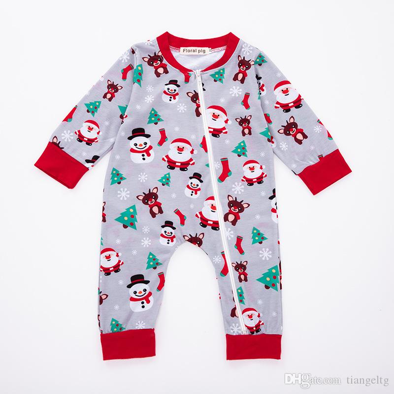 Baby Christmas Jumpsuit Rompers Newborn Baby Boy Girl Designer Clothes Santa Claus Tree Sock Elk Snowman Snowflake Printed Zipper 3-18M