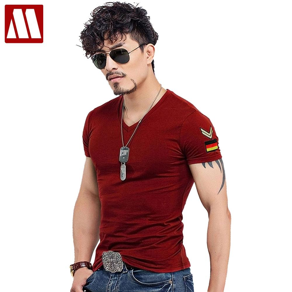 ee908873968d Summer Casual Slim Fit V Neck T Shirts For Men Armband Short Sleeve Army  Green Plus Size Men's T-Shirt Cotton TShirt Clothing