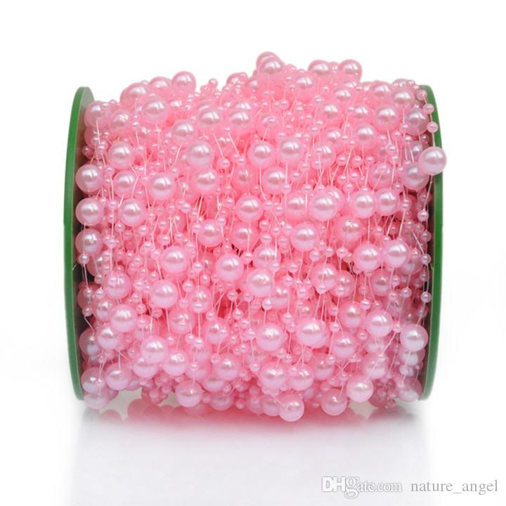 200 Feet Pearl Garland Roll of Beads Pearl String Pearls Bead Chain Beaded Wire Pearl Strands Bead Roll for Wedding Party