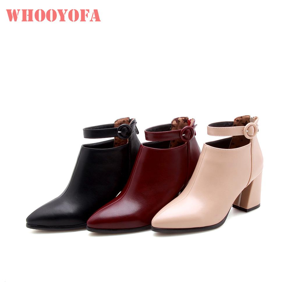 Hot New Winter Quality Breathable Beige Wine Red Women Ankle Boots Lady  Party Shoes 3 Inch Heels WK314 Plus Big Size 10 32 43 47 Womens Ankle Boots  Leather ... c26e30234