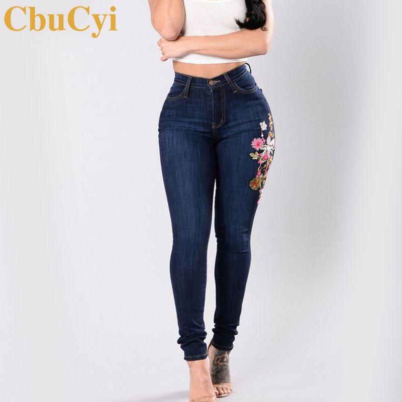 2018 Cbucyi Plus Size Jeans Women Cotton Denim Pants Floral