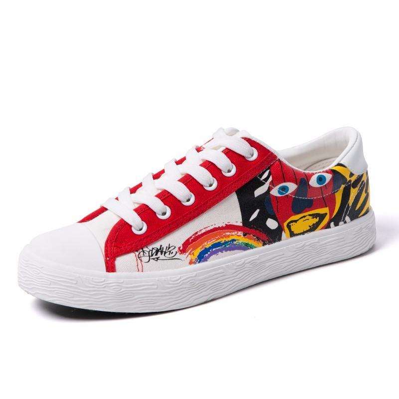 Hot Sale Mens Spring Summer Shoes Man Casual Print Canvas Shoes Men 2018  Fashion Lace Up Flats Boys Graffiti Zapatillas Hombre Casual Shoes Mens  Trainers ... 779b112f8586