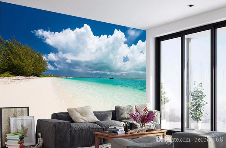 3D Custom Mural DIY Wallpaper For Walls Brand Designer Living Room good-looking Beach sea view Printed Photo Wall Papers