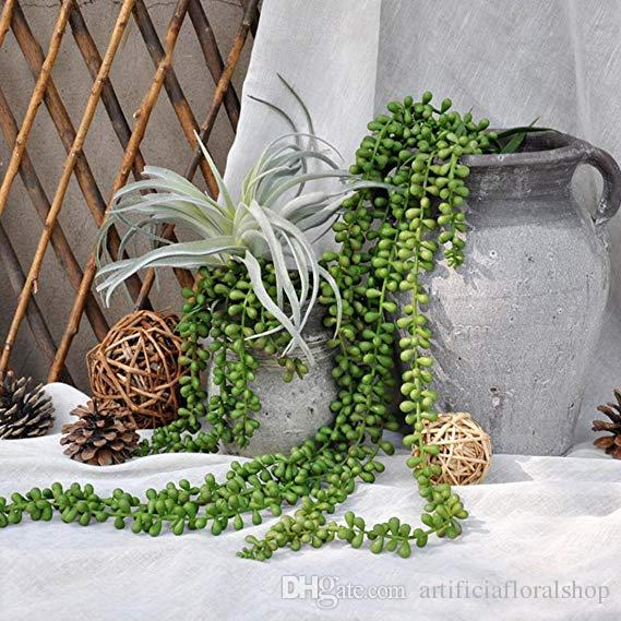 2019 Artificial Succulents Plants String Of Pearls Fake Wall Hanging