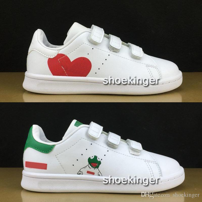 best loved 3895a 9c054 size 22-35 boys girls stan smith kids Multi Hook & Loop Shoes Kawakubo  children baby samba pink white red blue love Casual Shoes