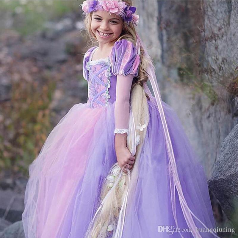 Tangled Princess Fluffy Dress Rapunzel Cosplay Costume For Evening ... 69b721d84413