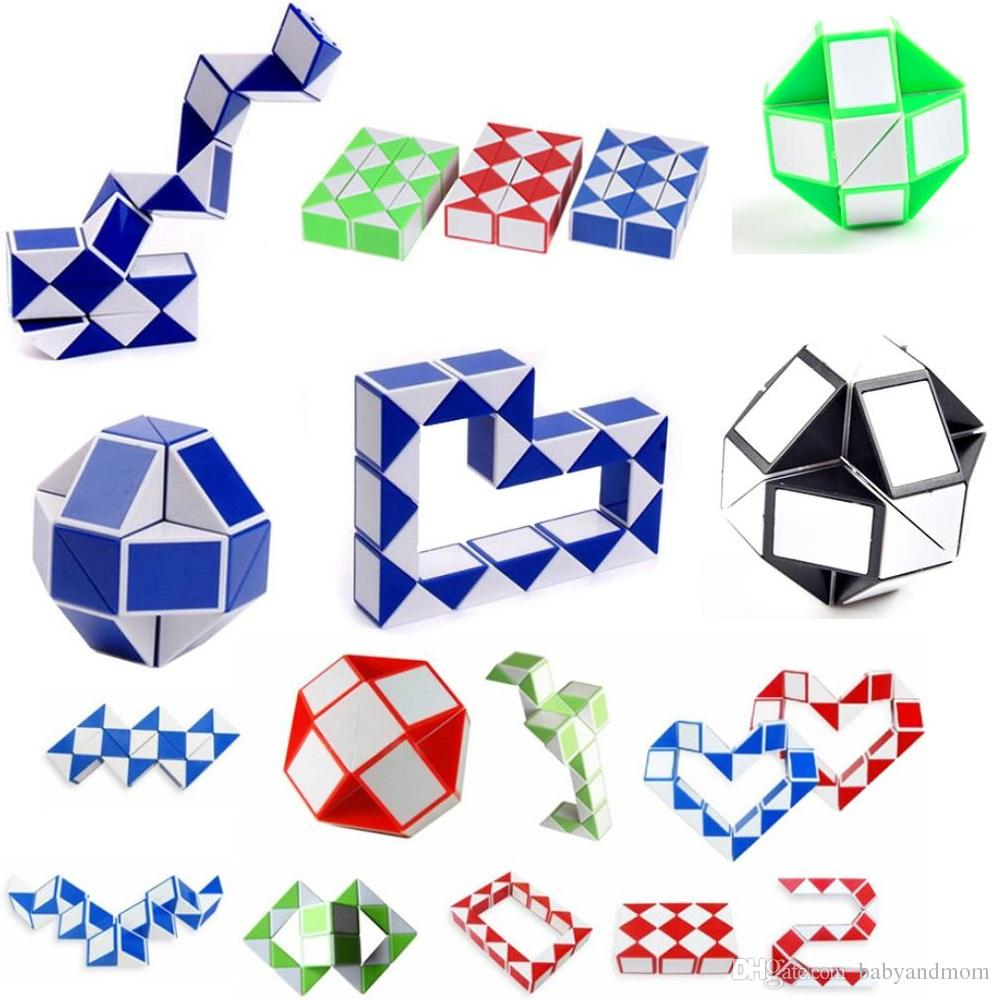 9e50f126c5661 24 Paragraph Creative Magic Snake Shape Toy Game 3D Cube Puzzle Twist  Puzzle Variety Magic Toy Gift