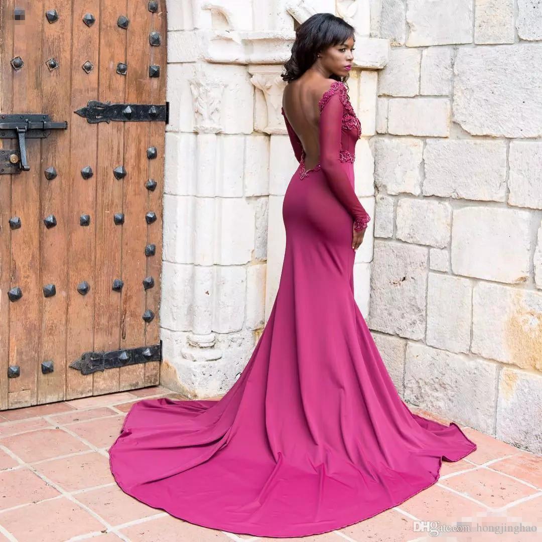 2019 Bordo Mermaid Uzun Kollu Gelinlik Modelleri Seksi Aç Geri Illusion Durum Abiye giyim Siyah Kızlar Parti Elbiseler