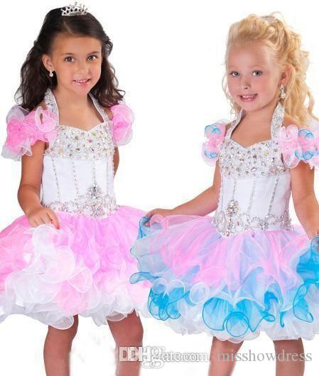 Perline di cristallo Pageant abiti senza schienale Piping Organza Cupcake Rosa Bianco Flower Girl Dresses BO6002 belle Halter una linea di Mini Glitz Girls'