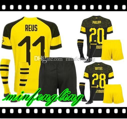 3096f8dac Adult Size! 2018 2019 Dortmund Home Away Black Soccer Jersey 18 19 ...