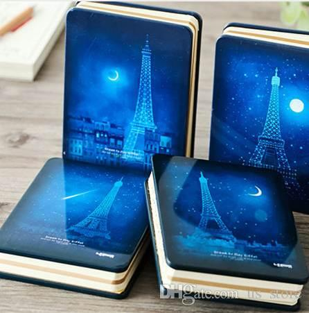 Fashion Eiffel Tower Night Star Sky Cat Metal Hard Cover Notebook Diary Agenda Notepad Planner Stationery Office School Gift