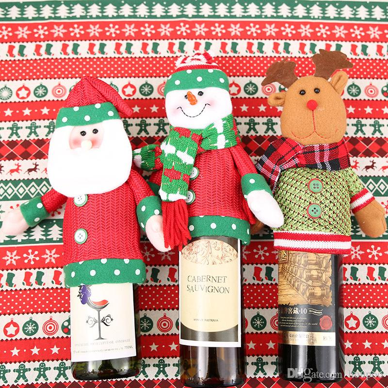 christmas gift wraps santa claus deer pattern knitting 3 styles ornaments xmas wine bottle cover bag dinner party table decor custom christmas ornaments