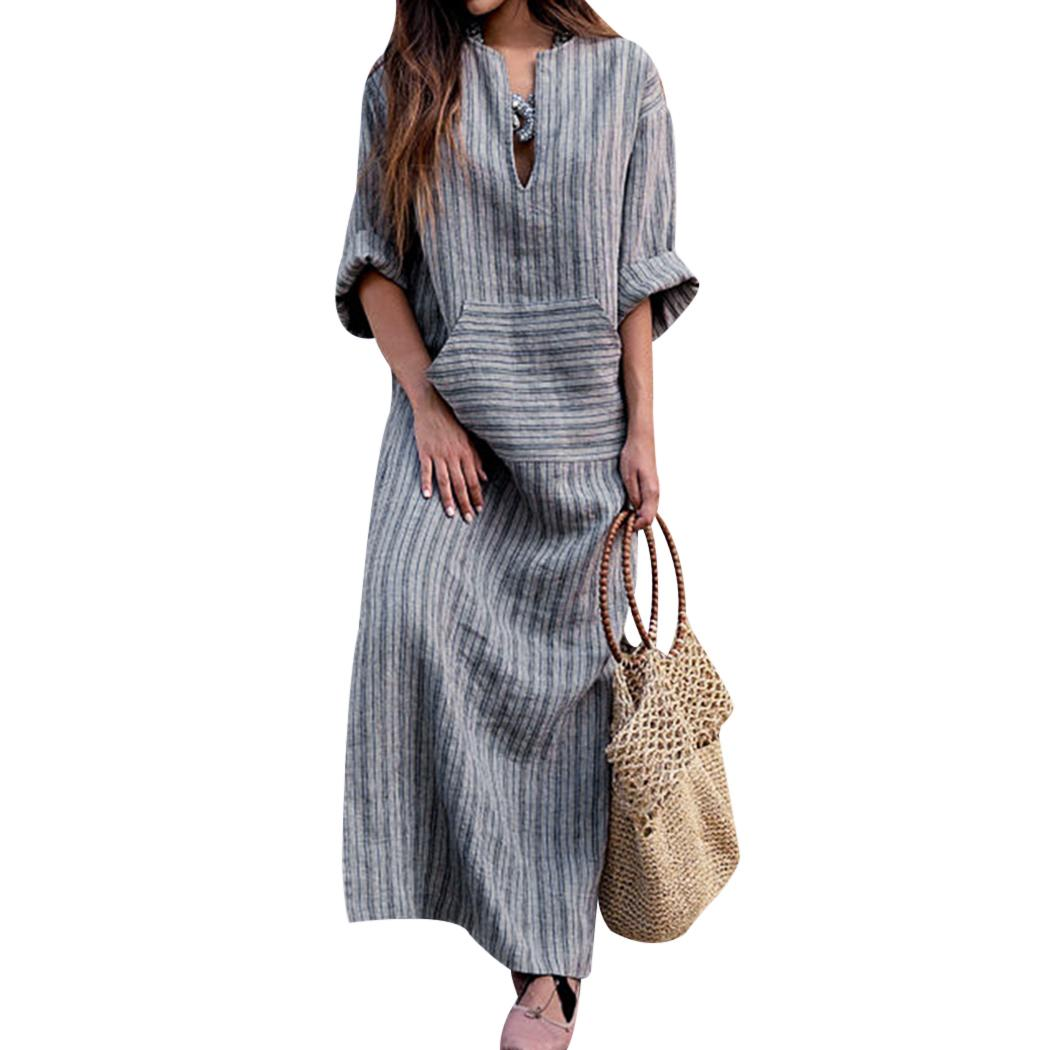 907bea5c7b7 2019 M 5XL Women Cotton Linen Kaftan Dress Fashion Striped Pocket Loose Long  Maxi Dress Summer Autumn Plus Size Long Sleeve Dresses From Duanhu