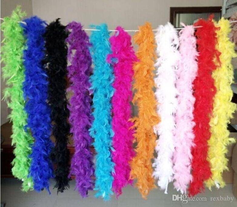 Pink Chandelle Feather Boa 200cm/pcs Wrap Burlesque Can Can Saloon Sexy Costume Accessory Turkey Marabou Feather Boa Many Colors Available