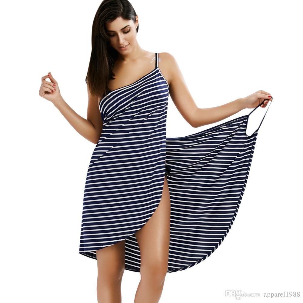 Compre 2018 Sexy Backless Women Summer Striped Dress Con Cuello En V ...