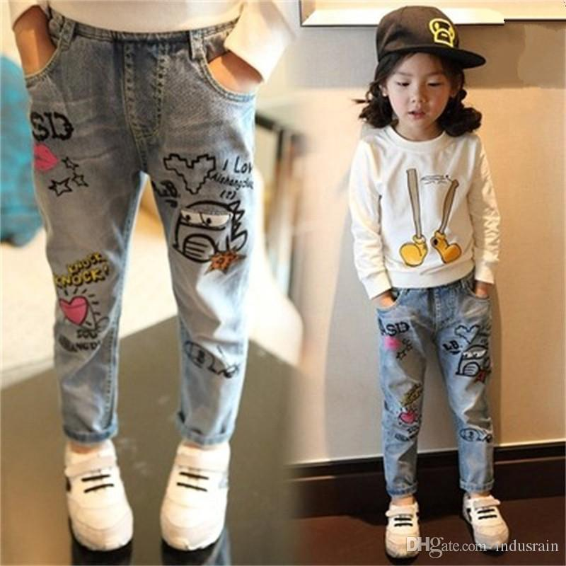 New Pattern Spring Autumn Girl Jeans Children broken hole Wild Graffiti boys Pants Baby Trousers girls Children's leggings