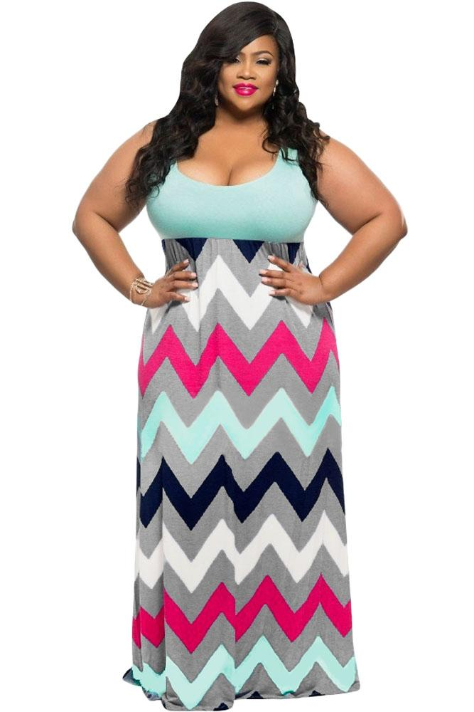 afa09f747e762 Sexy Ladies Plus Size Light Blue/Pink Top Multicolor Zigzag Maxi Dress  Casual Party Loose Dresses