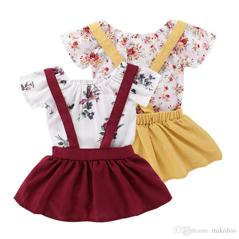 ce3a3099d674 2019 Mikrdoo Kids Baby Girl Cute Clothes Set Short Sleeve Flower Printed  Romper Top + Strapped Skirt Outfit Toddler Summer Lovely Clothing From  Mikrdoo