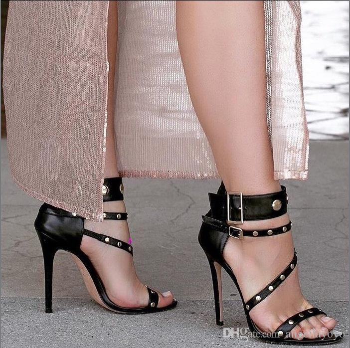 b0f405db6e1 Sexy Rivets Women Pumps High Heels Metal Buckle High Heel Sandals for Women  Black Gladiator Sandals Women