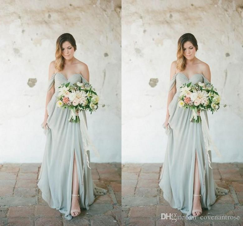 3b230bdb10 New Cheap Bohemian Beach Bridesmaid Dresses Off Shoulder Ruffles Chiffon  Split Bridesmaids Dress 2018 Top Selling Wedding Guest Gowns