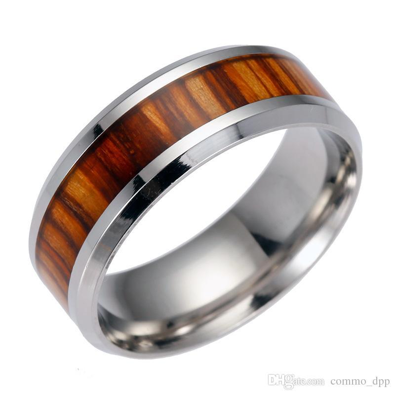 Anillo de acero de madera de alta calidad para hombres de acero inoxidable para mujer anillo de acero de titanio de madera para mujer joyería de moda a granel