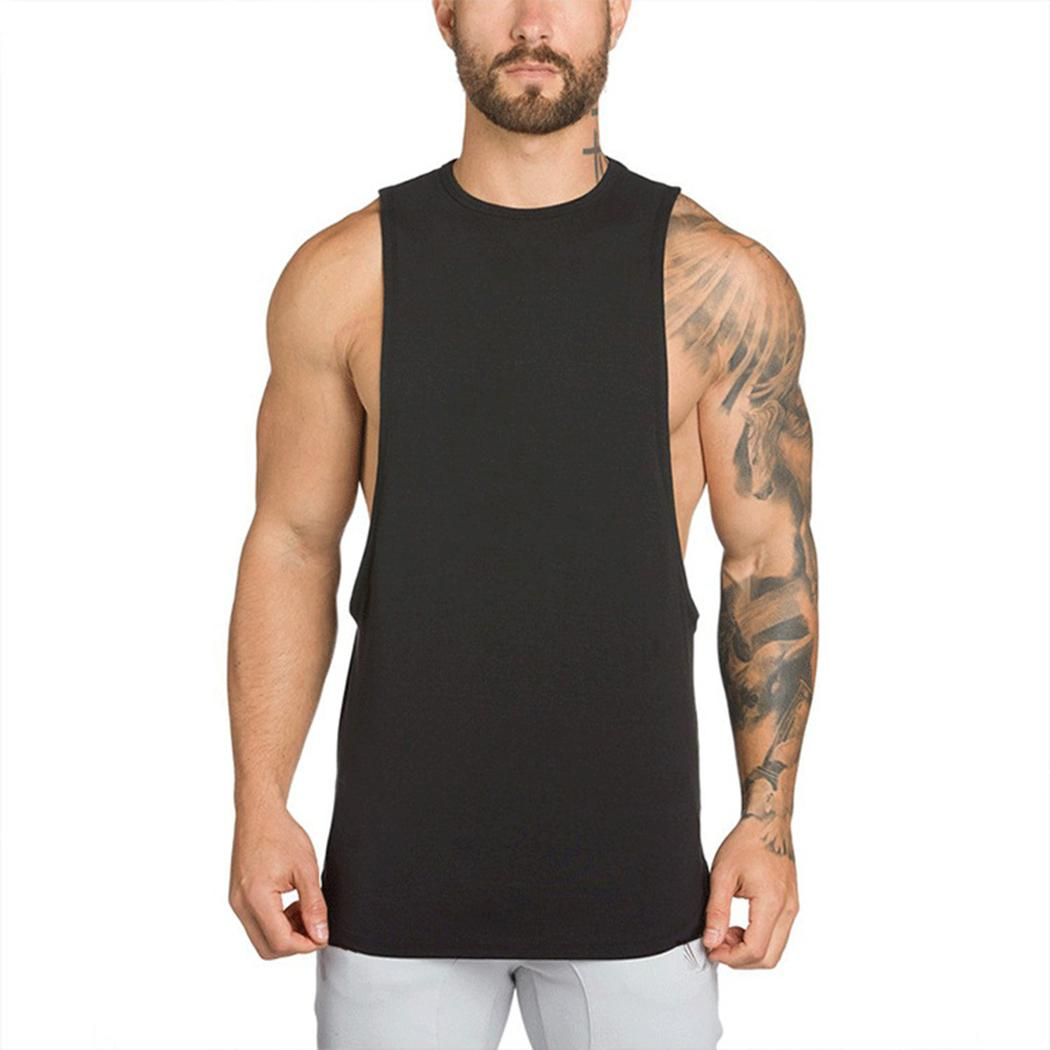 4ab8037d136b44 2019 Summer Fitness Tank Top Men Cotton Sleeveless Loose Vest Singlet  Casual Men S O Neck Solid Color Comfortable Shirt Tank Tops From Cailey