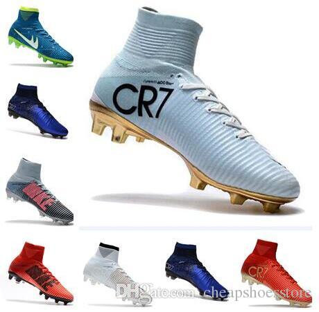 Newairl Kids Soccer Shoes For Boys Mercurial Superfly Fg Cr7 Sock Boots  Football Womens Mens High Tops Ronaldo Ankle Indoor Soccer Cleats UK 2019  From ... 39ec259654