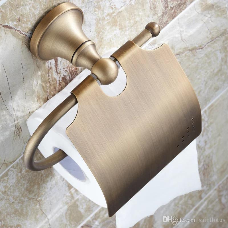 Paper Holders Antique Brass Toilet Roll Tissue Holder Bath Rack Wall Mounted Bathroom Accessories brass WC Paper Holder