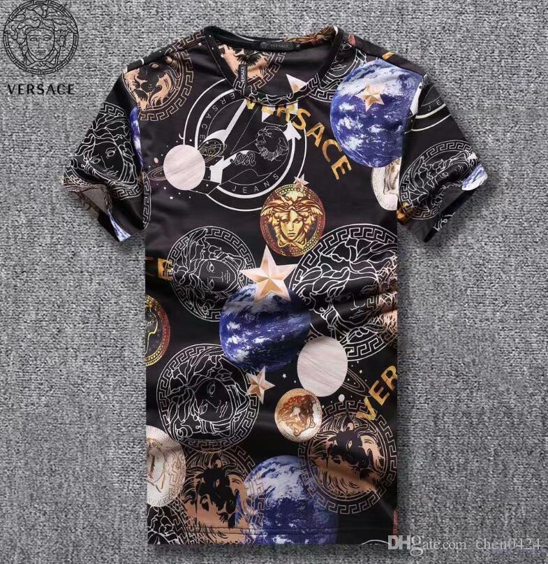 10710e38c Compre Marca De Luxo T Shirt Para Homens Designer De Camisas De Verão  Streetwear Tops Letras Imprimir Tripulação Pescoço Esporte De Manga Curta  Mens Roupas ...