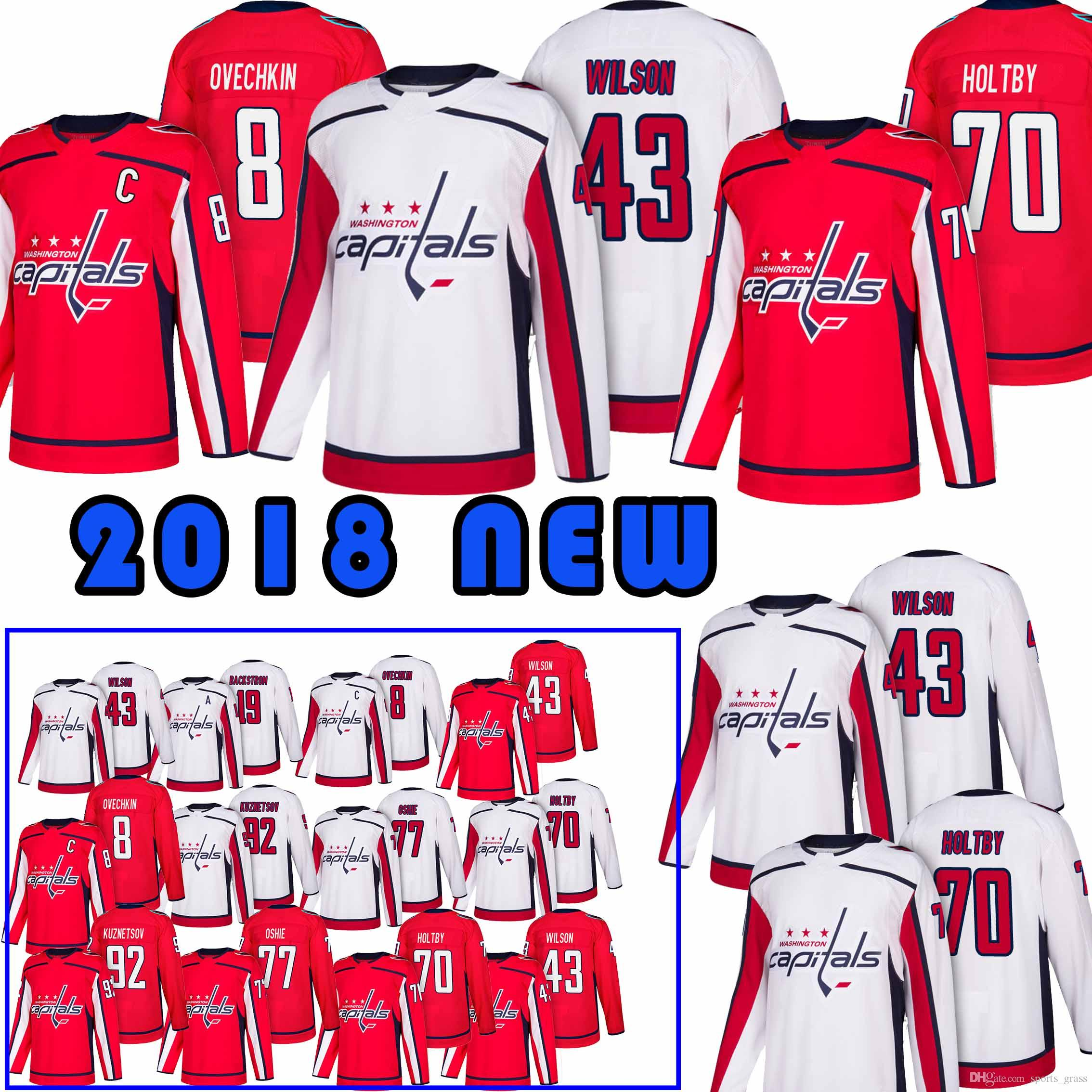 check out 065c3 664d8 Washington Capitals Jerseys 8 Alex Ovechkin 77 T.J. Oshie 19 Nicklas 70  Braden Holtby 43 Tom Hockey Jersey Top quality