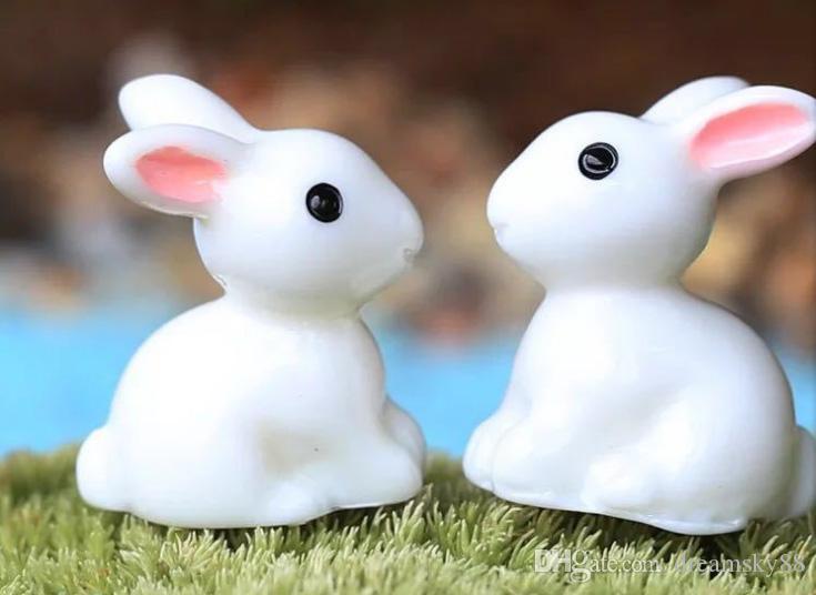 Miniature Rabbits Fairy Garden Terrarium Figurine Decor DIY Bonsai Craft Gift